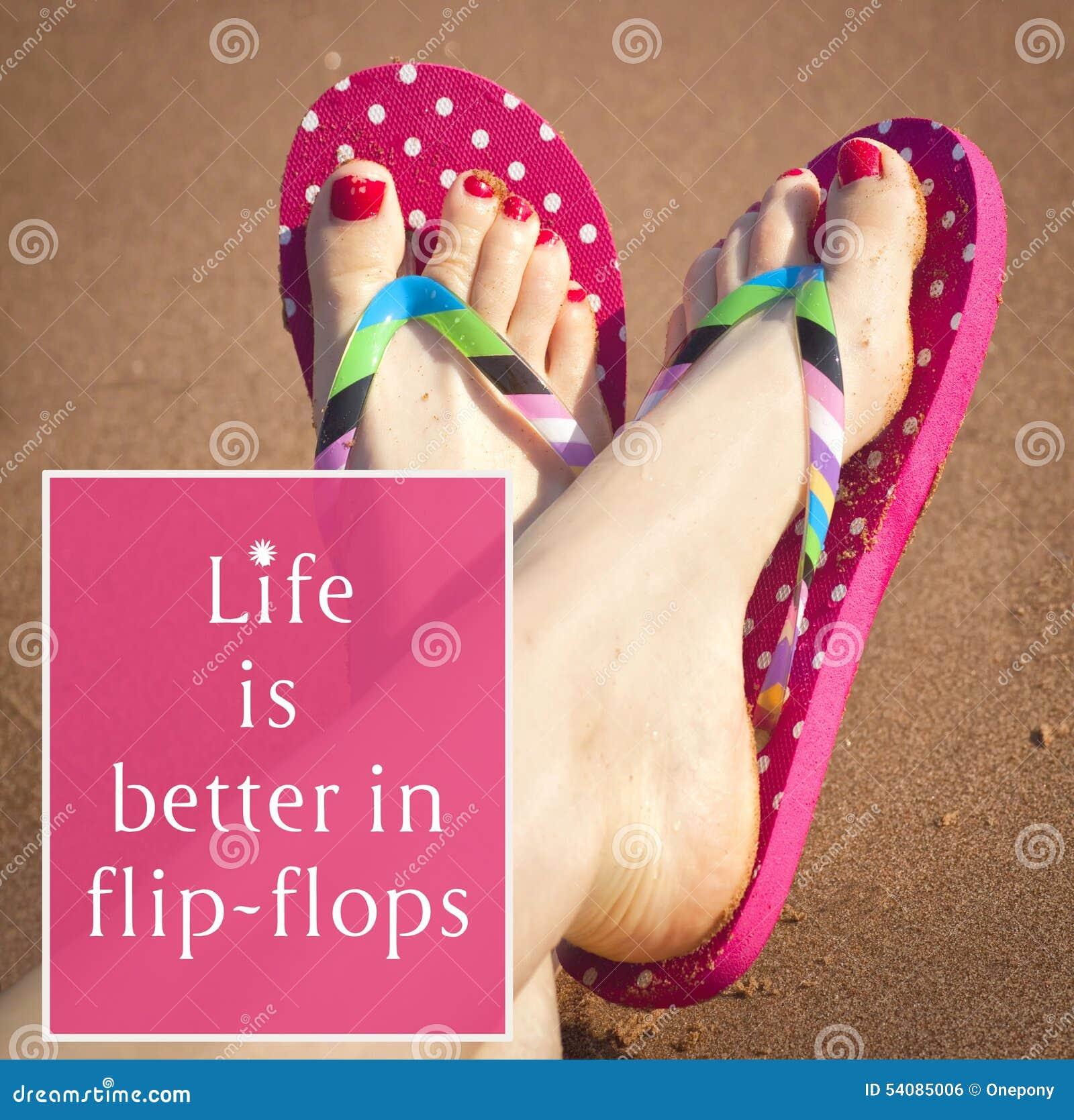 Painted toenails and flip flops