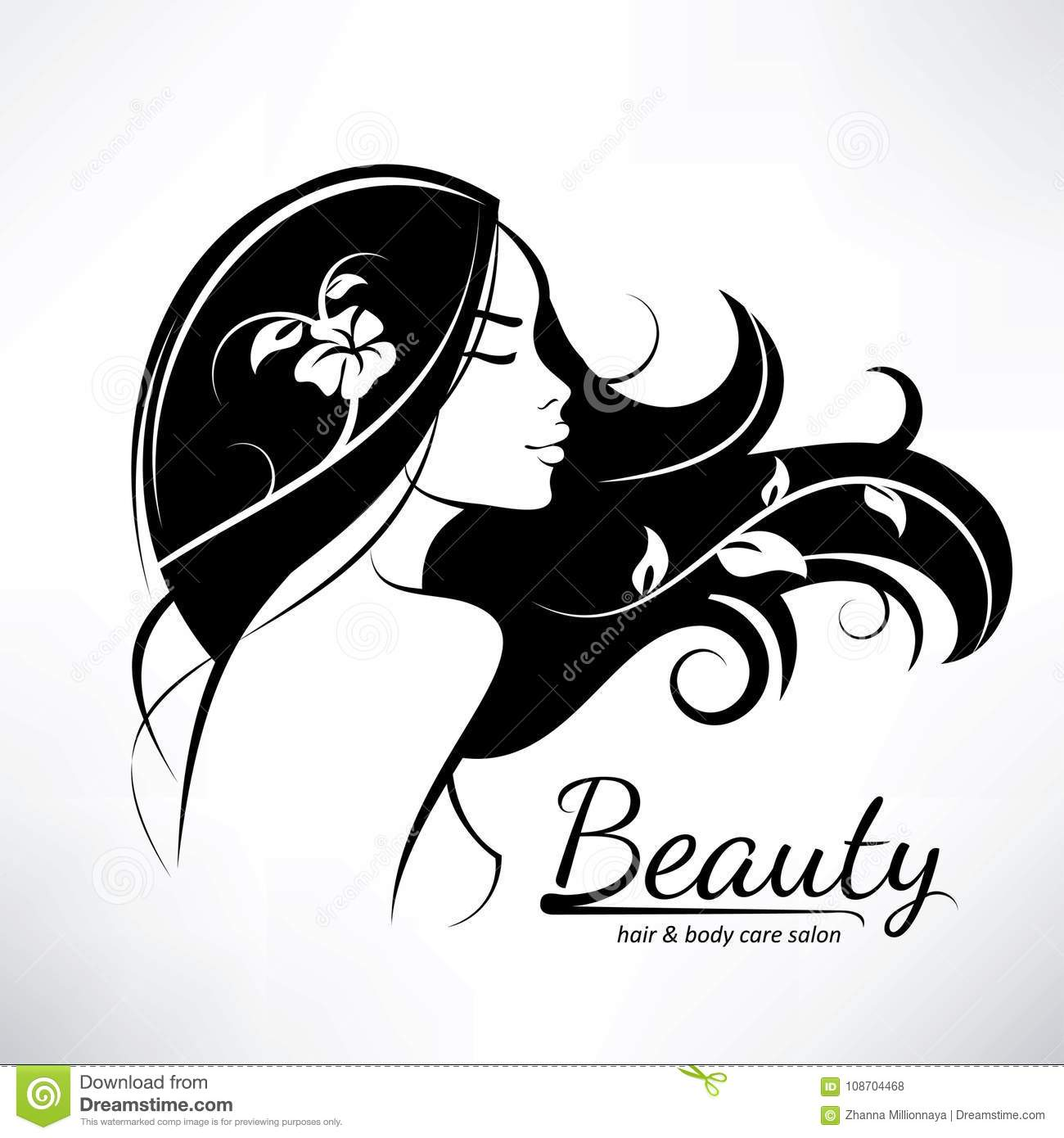 Womans Hair Style Stylized Sillhouette Stock Vector