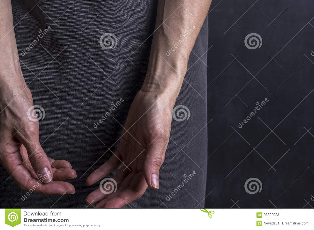 Womans Hands With Blood Veins Emotional Gesture Stock Image