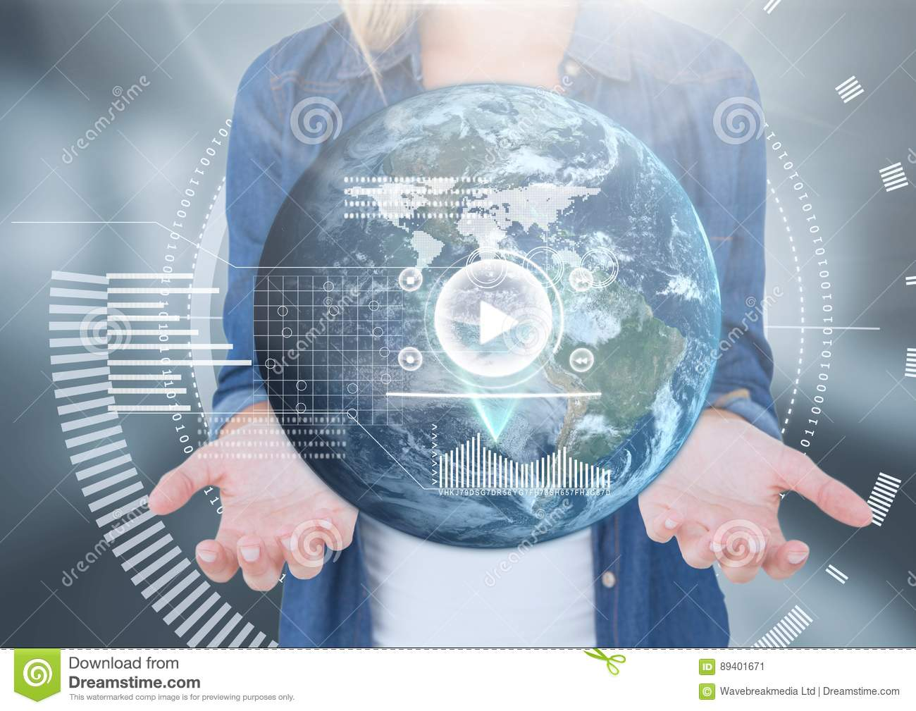 Womans open palm hands holding world earth globe interface technology