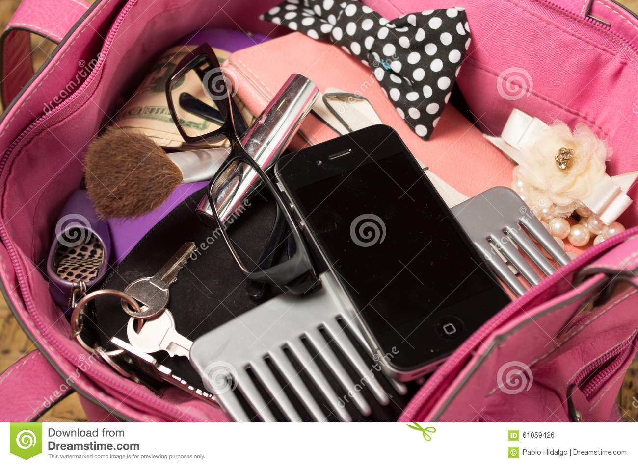 Womans Purse Pink Color Open From Above With Stock Photo Image Of