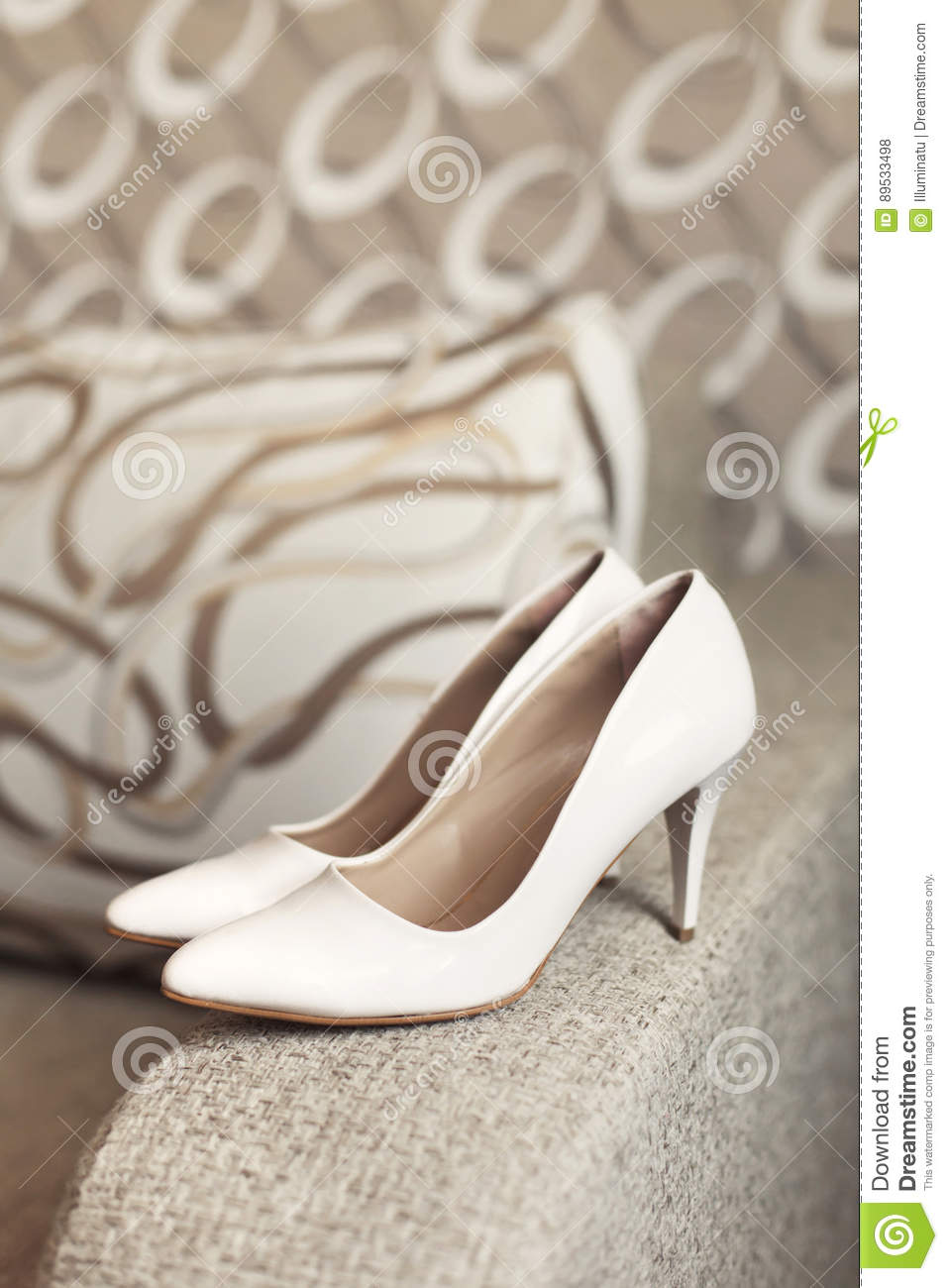 Womans white wedding leather shoes