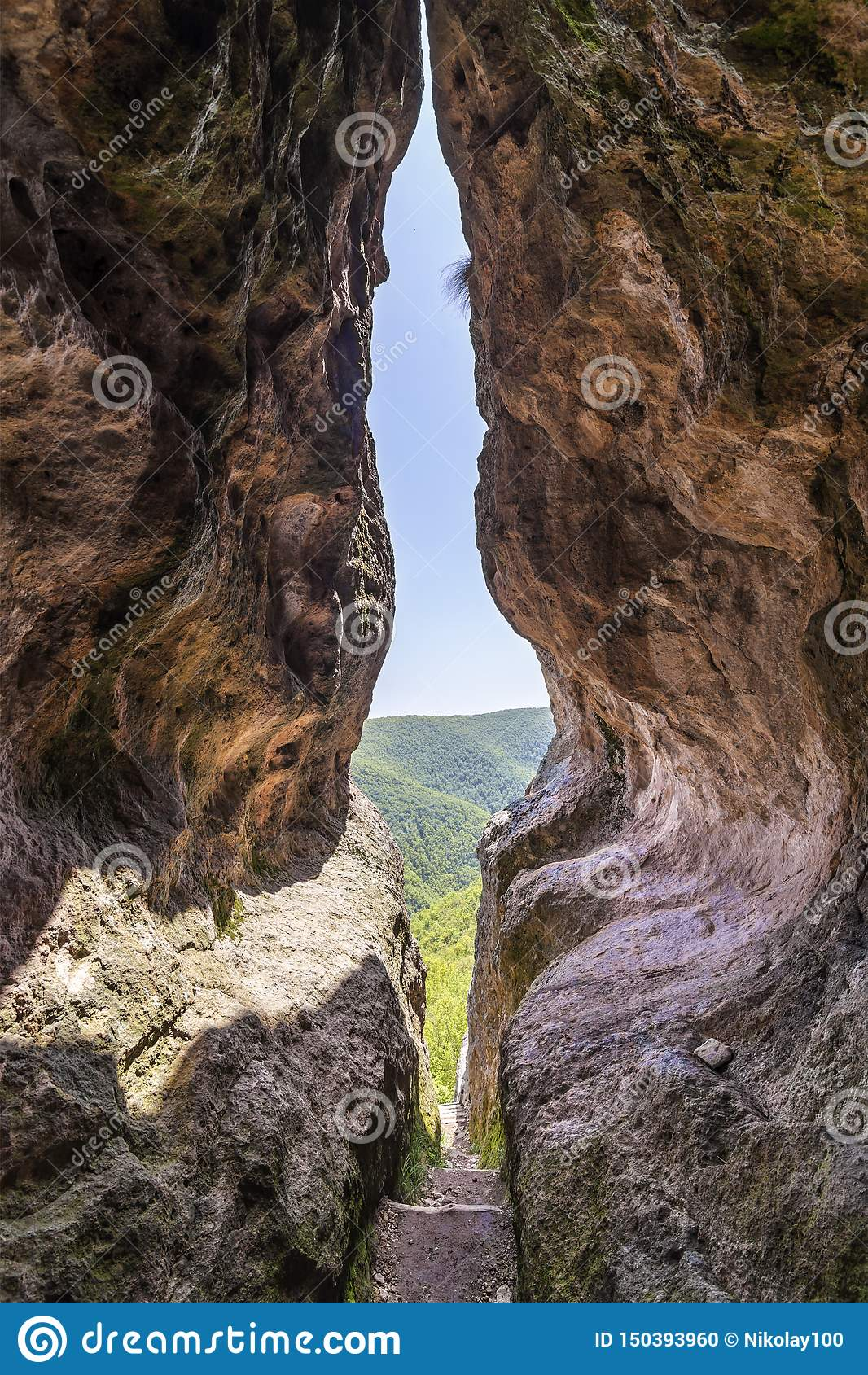 The womb cave also known as Utroba cave in Bulgaria
