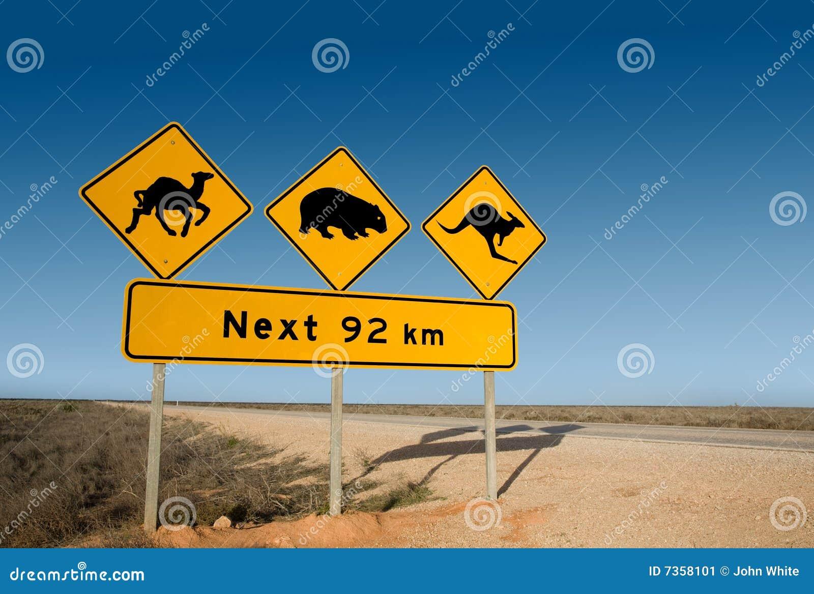 Wombat d avertissement de signe de kangourou de chameau de l australie
