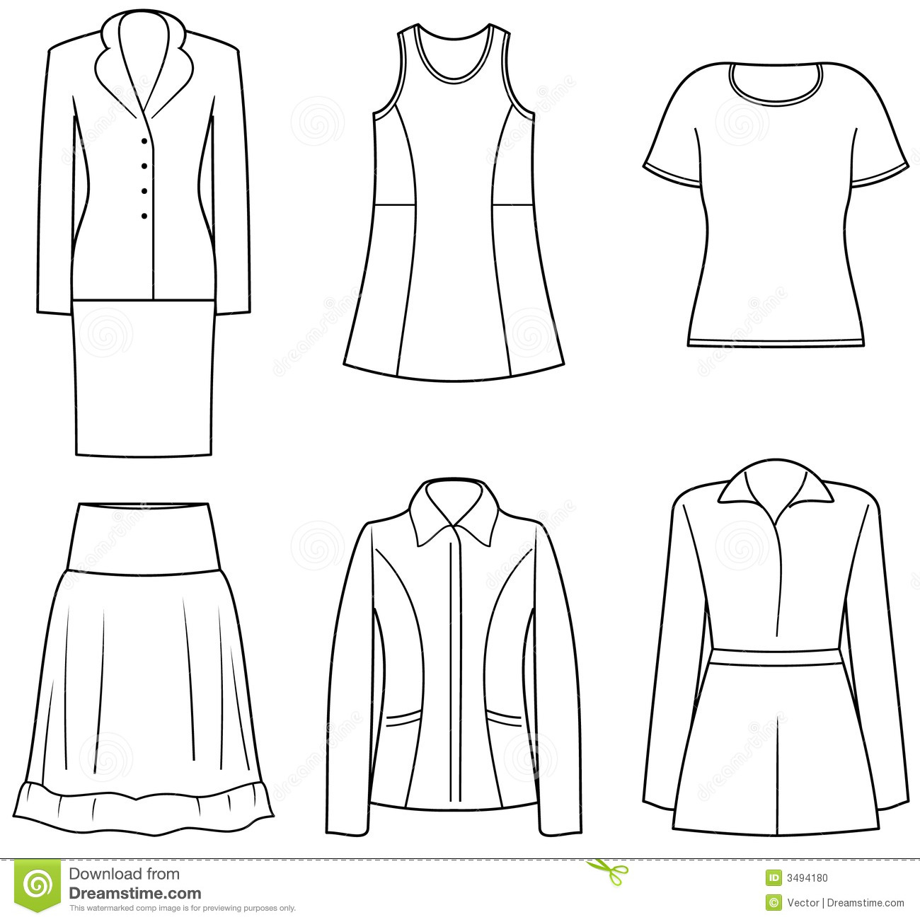 Women\'s clothes stock vector. Illustration of clipart - 3494180