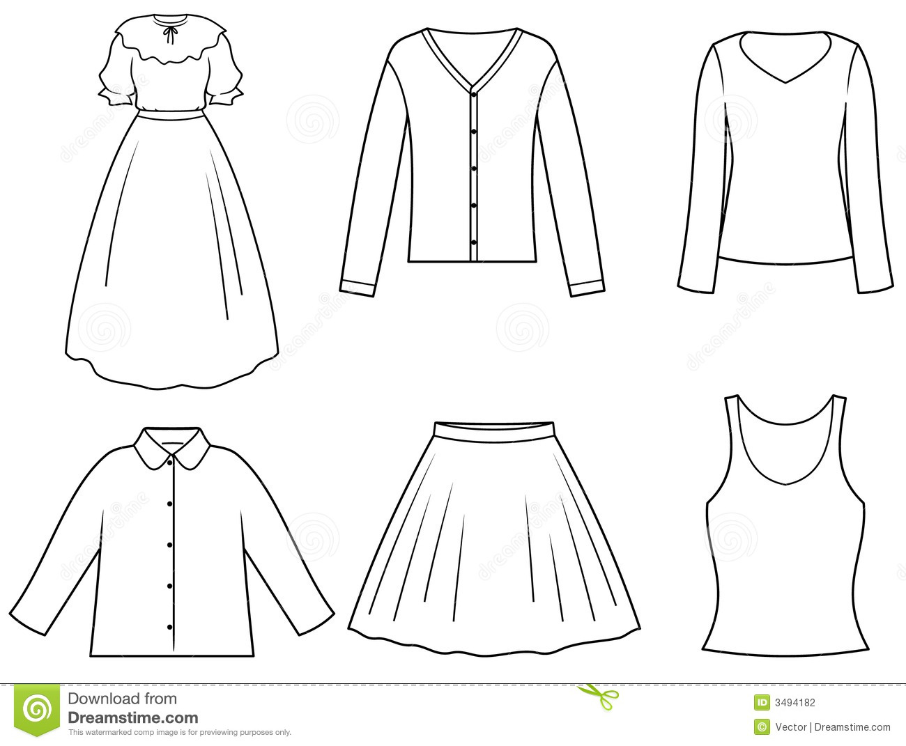 Women's clothes stock vector. Illustration of pocket ...