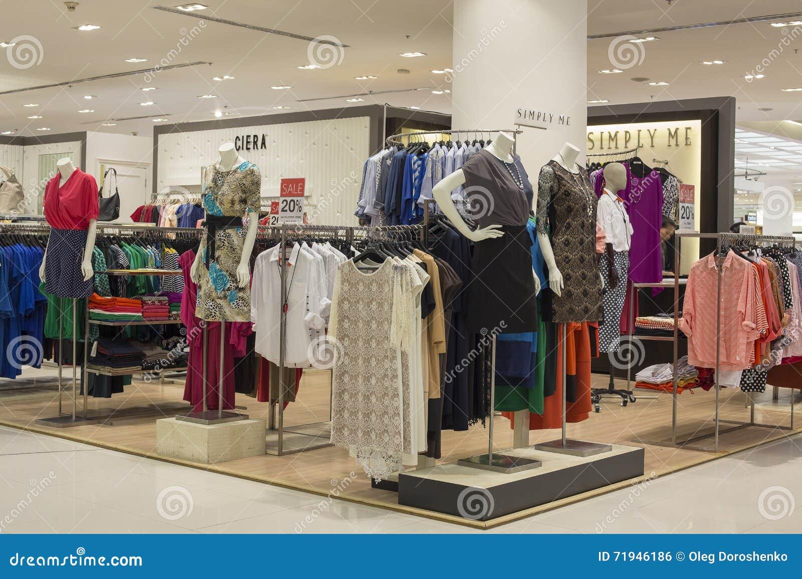 Women' раздел одежды s в парагоне Сиама супермаркета bangkok Таиланд