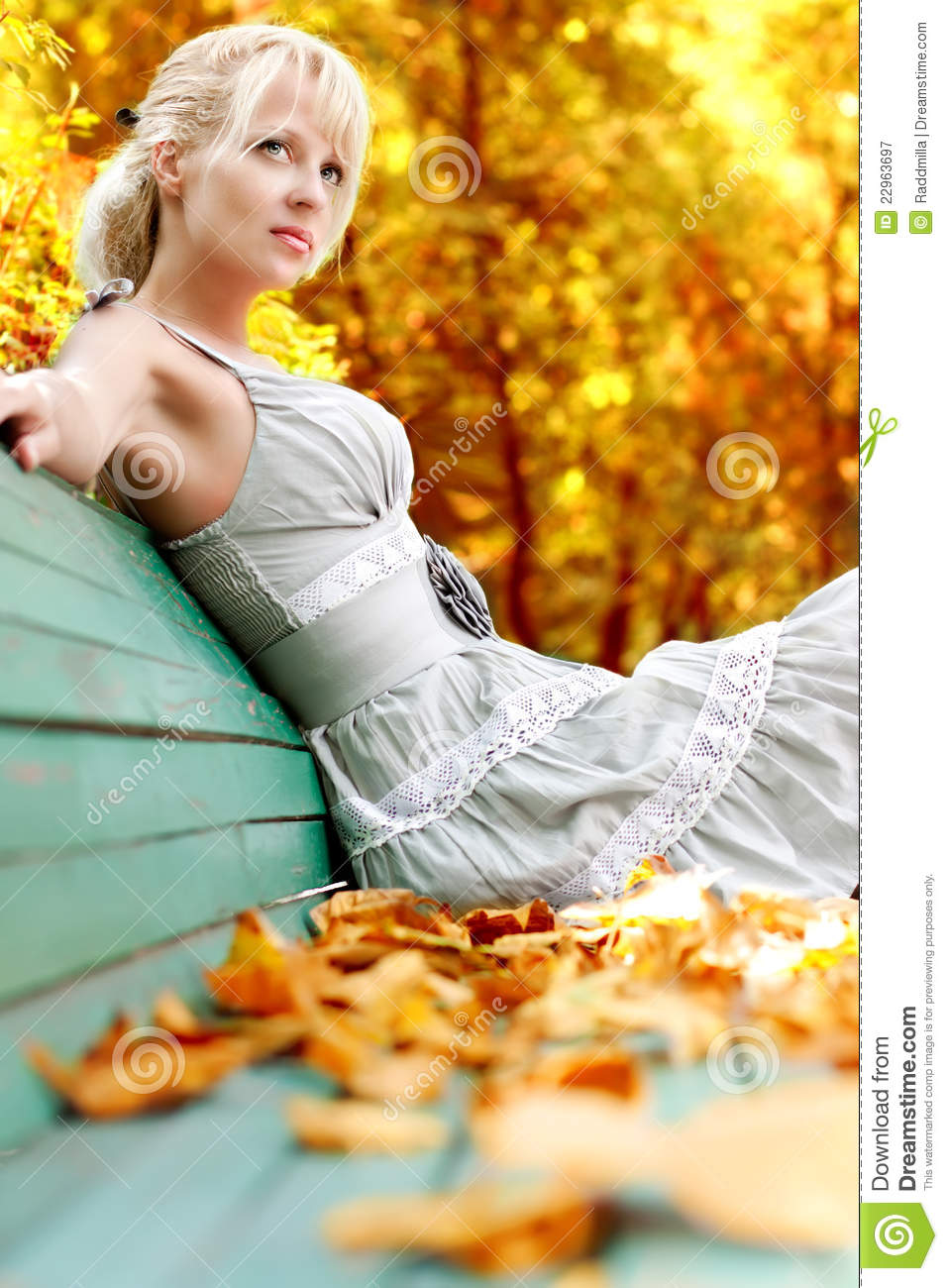Women with autumn leafs stock image. Image of forest ...