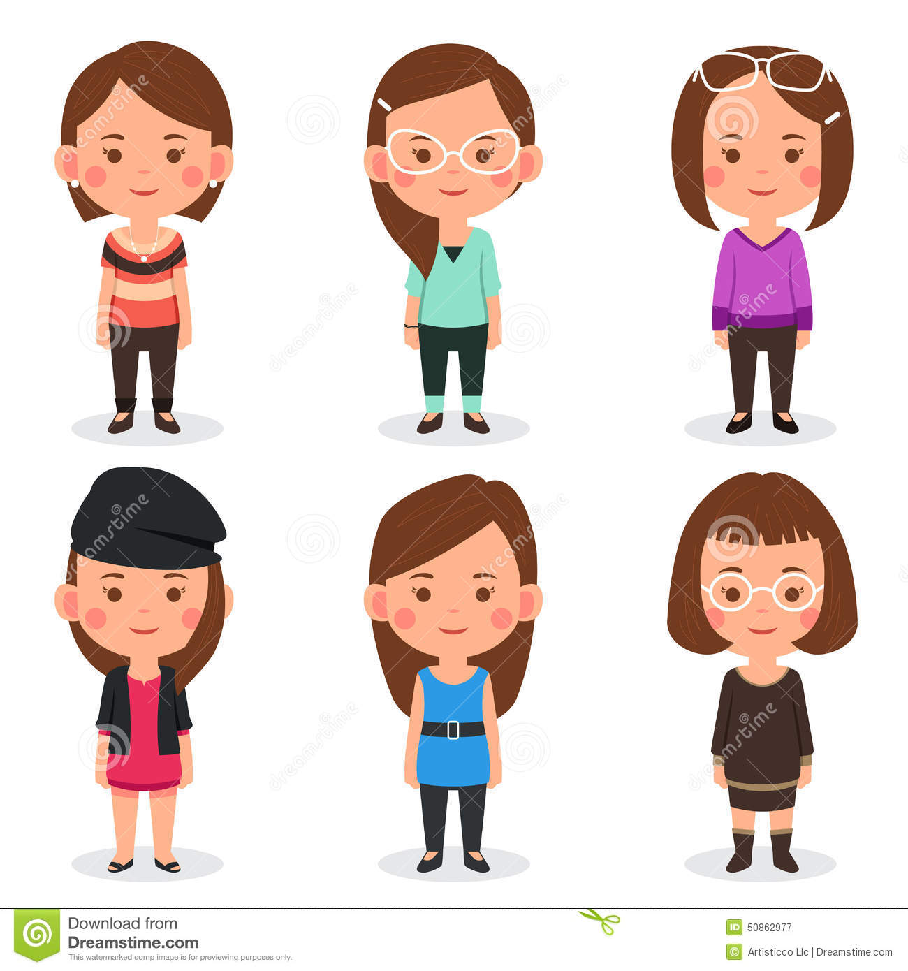 Women Avatars In Different Outfits Stock Vector ...