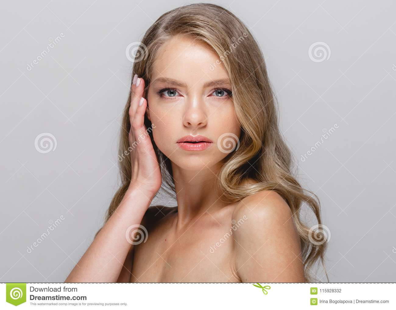 Women Beauty Face Beautiful Blonde Woman Beauty Model Girl With Stock Photo Image Of Healthy Earrings 115928332
