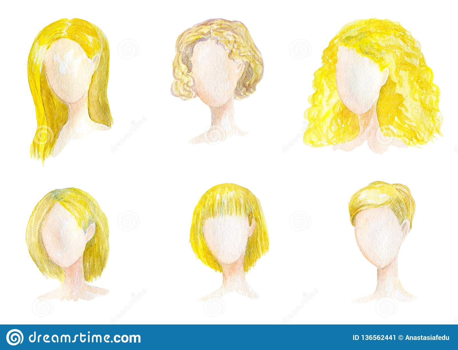 d87dfc3fc Watercolor hand drawn set with different types of female hairstyles for  long,curly,chort hair. Women blonde haircut illustration on white  background to use ...