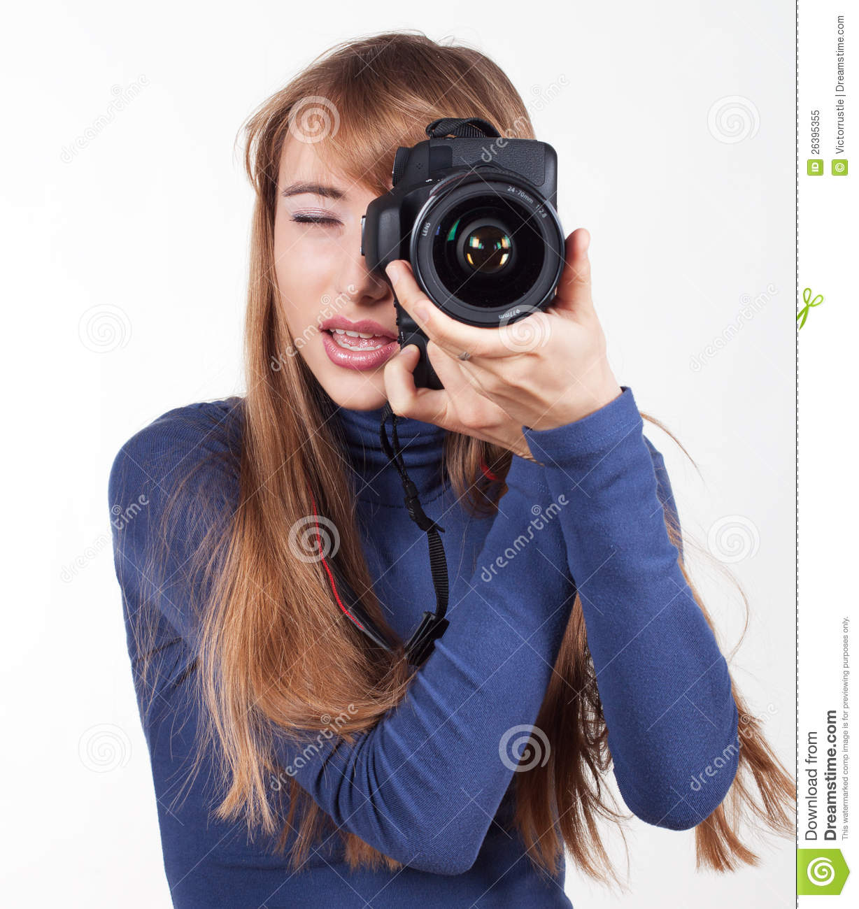 Women with camera stock image. Image of holding ...