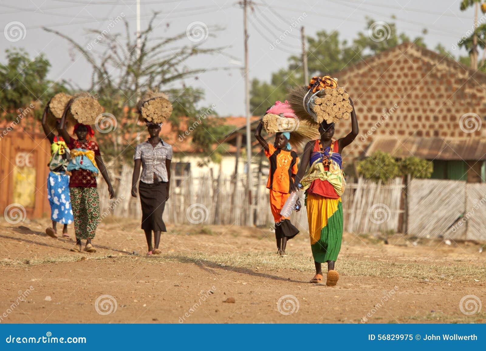 Women carrying loads in South Sudan