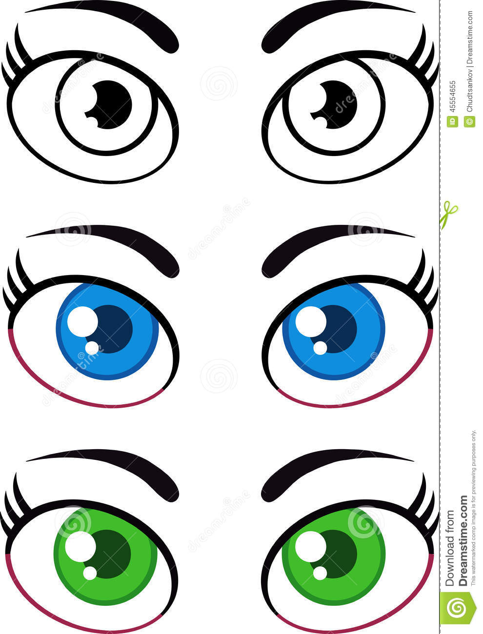 Cartoon Characters Eyes : Women cartoon eyes collection set stock illustration