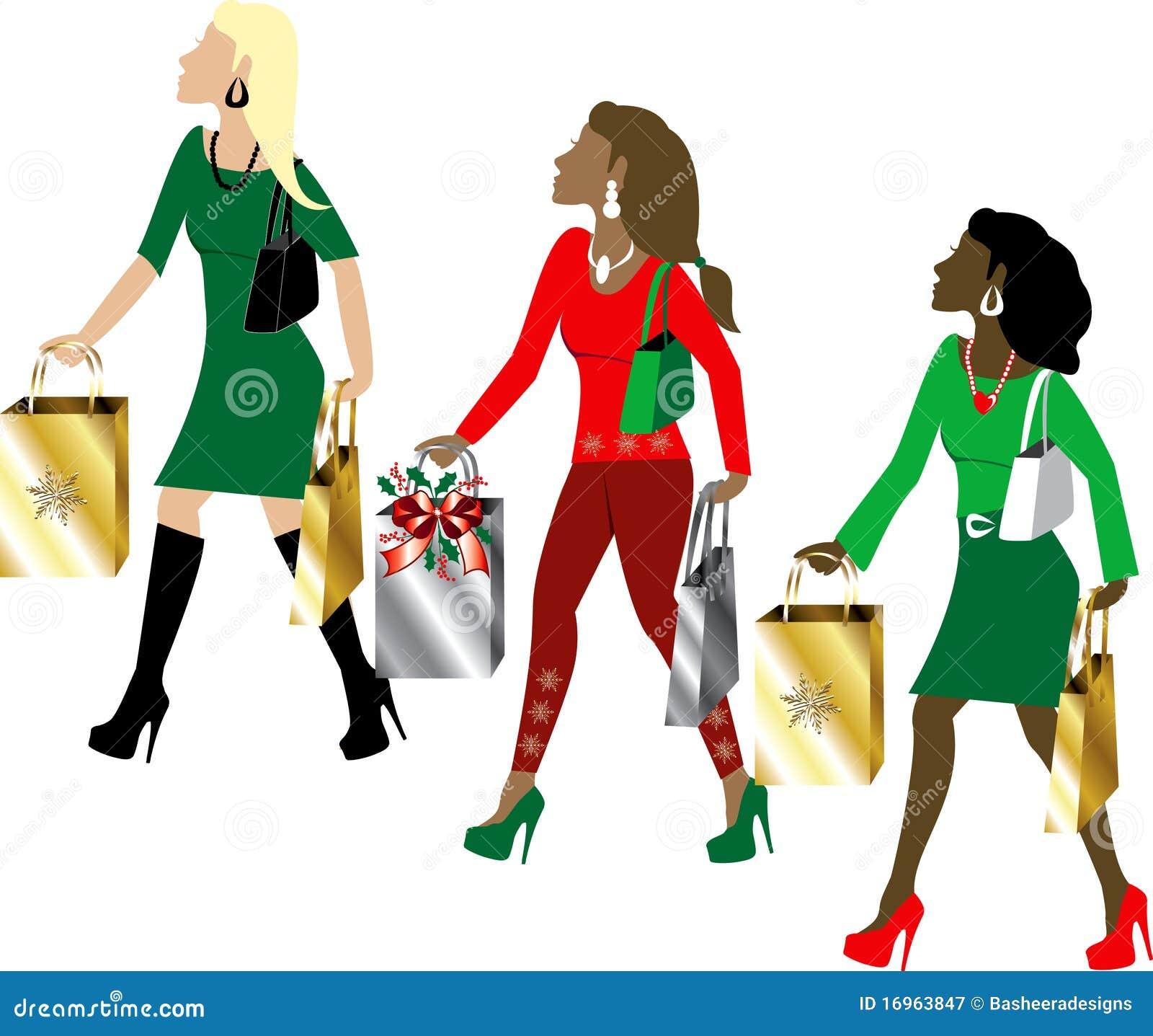 Women Christmas Shopping Stock Vector Illustration Of