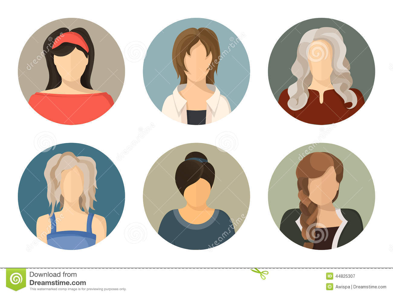 Women Circle Avatar Icon Set Stock Illustration - Image ...