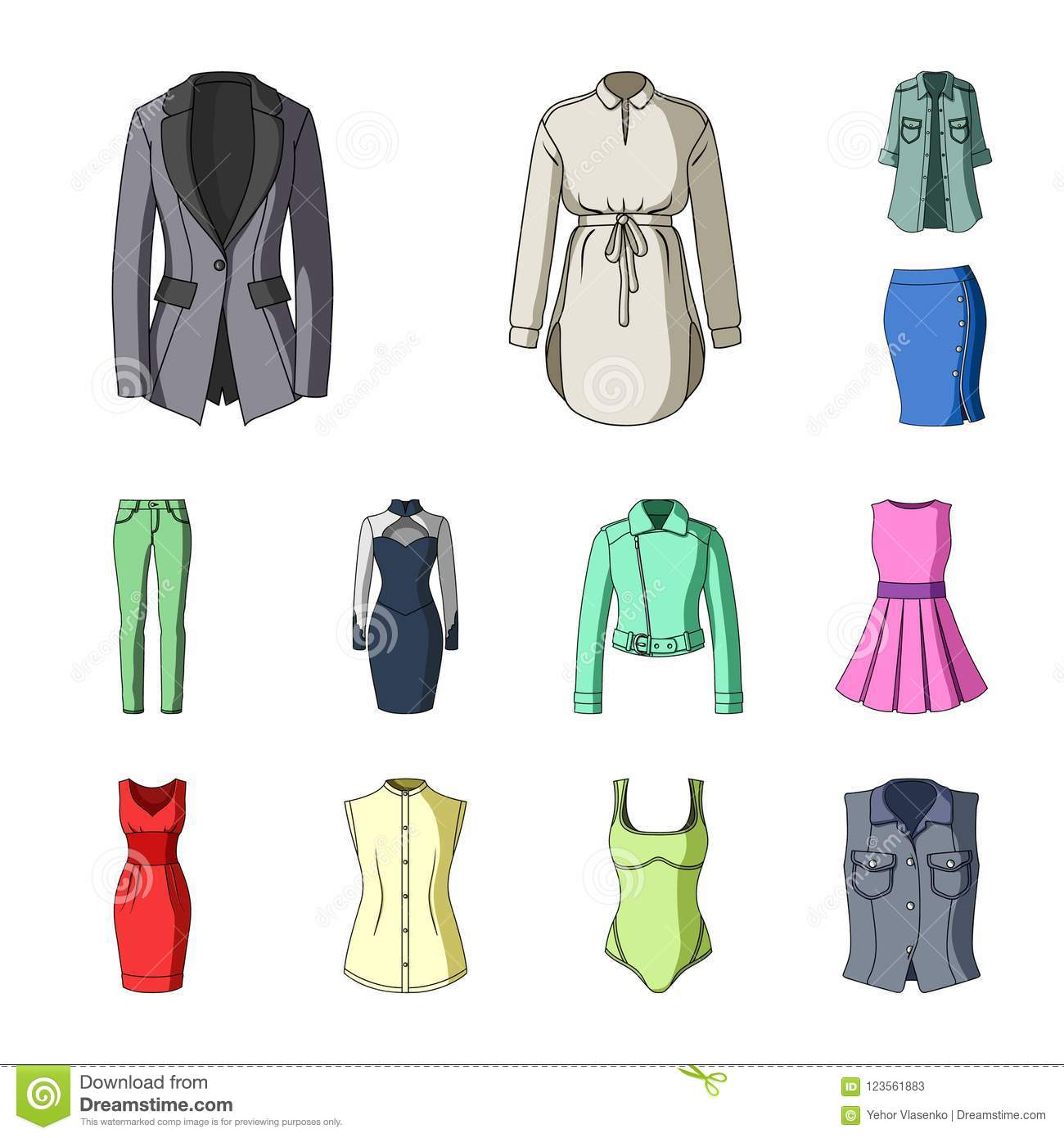 b10e6122e16 Women Clothing cartoon icons in set collection for design.Clothing  Varieties and Accessories vector symbol stock illustration.