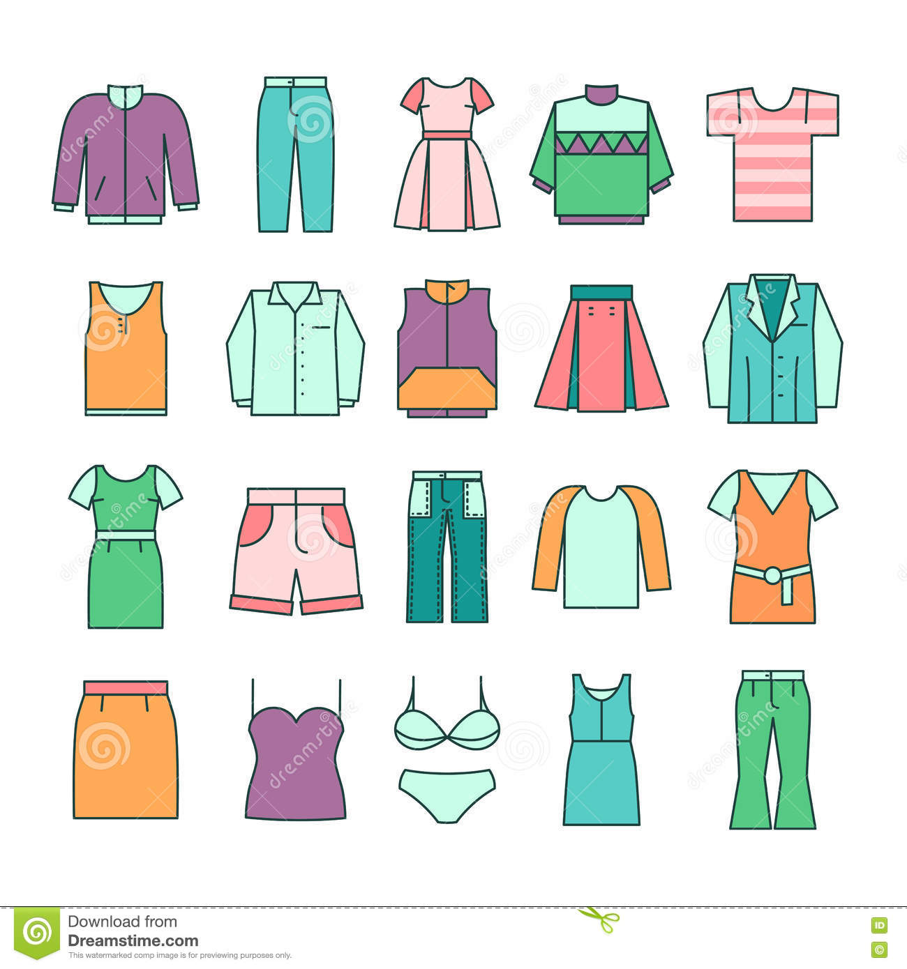 Women Clothing Icons In Flat Line Style Vector Stock Vector Image 77540086