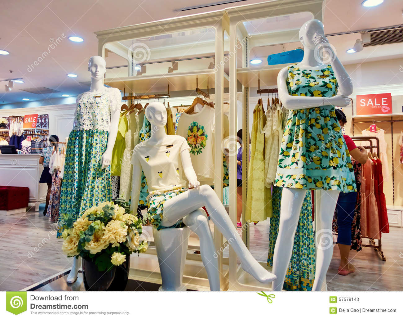 58d5d81ad0ead Interior of modern fashion boutique women clothing retail store with  mannequins. Clothes shop with female mannequin display.