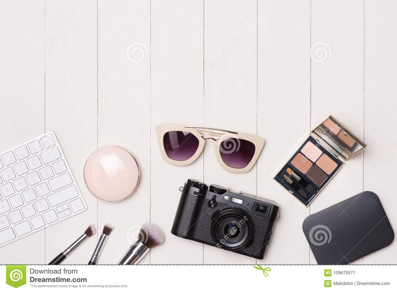 0d30c40292d Women Cosmetics And Fashion Items On Table With Camera And Passport ...