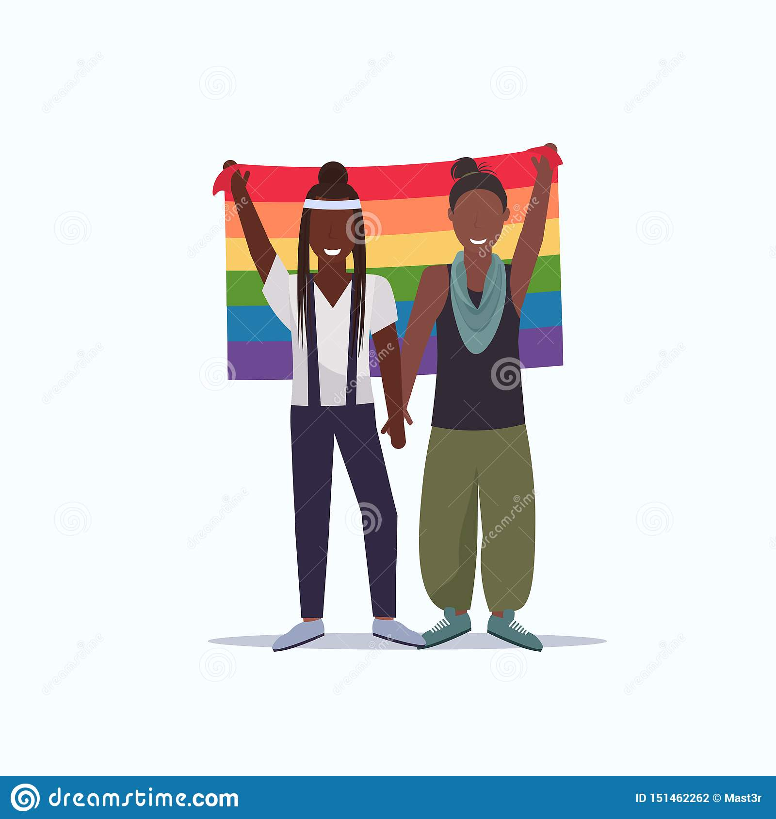 Women couple holding rainbow flag love parade lgbt pride festival concept two african american lesbians female cartoon