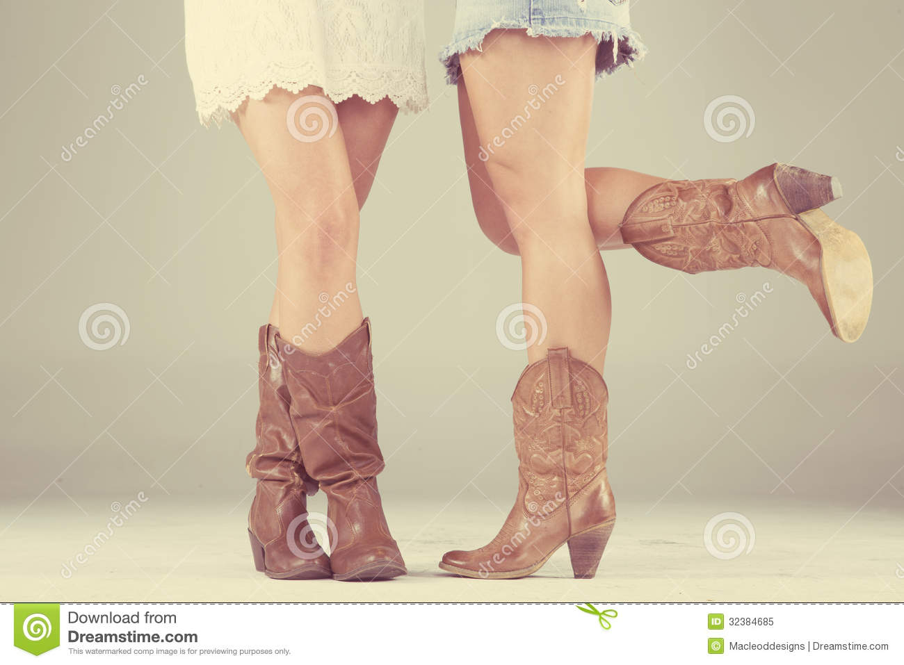 Women with cowboy boots