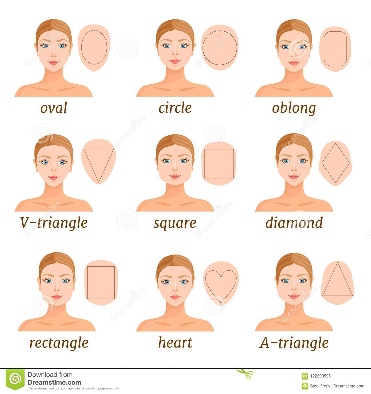 Incredible Women With Different Face Shapes Vector Stock Vector Natural Hairstyles Runnerswayorg