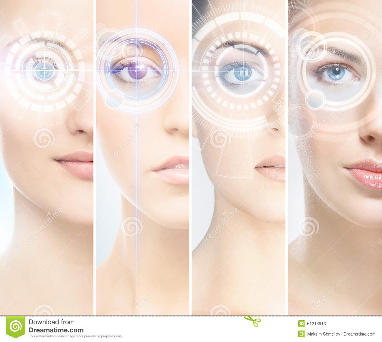 Women With Digital Laser Hologras On Their Eyes Stock