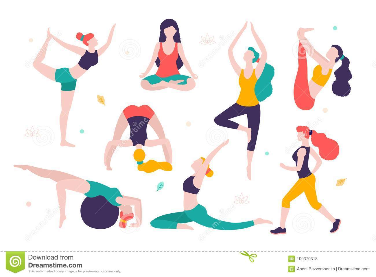 women doing sports different poses of yoga exercises for healthy