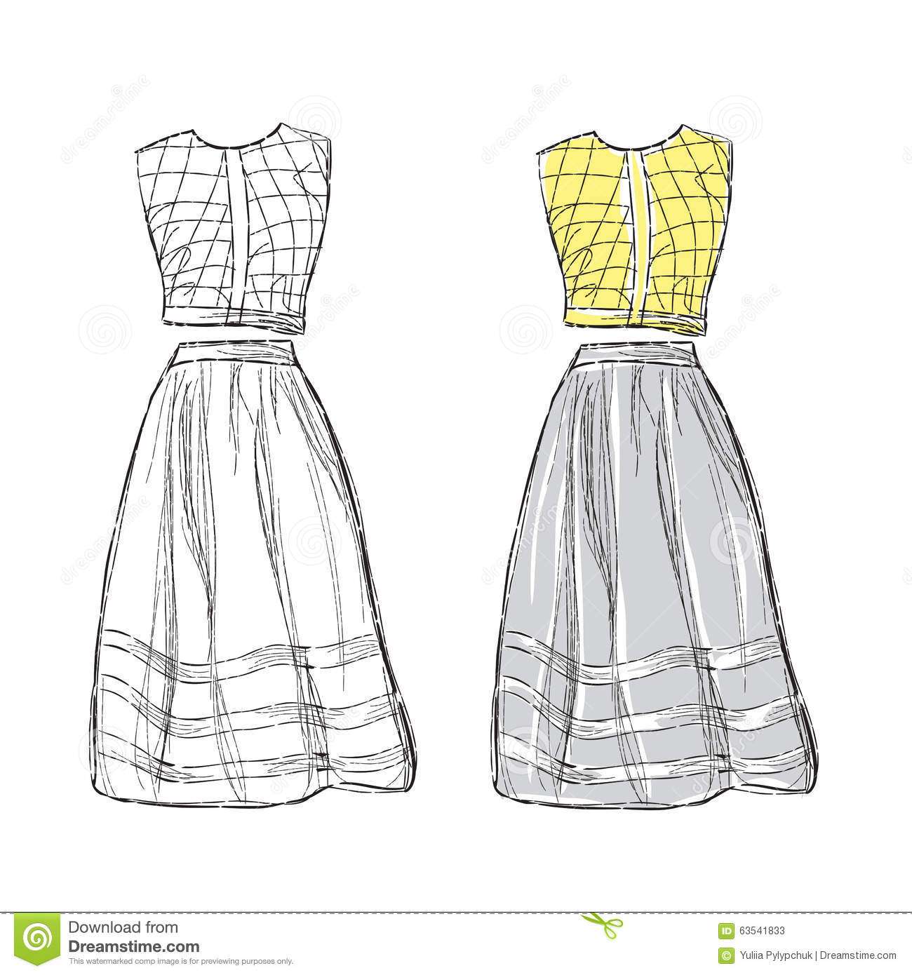 Women Dress Sketch Stock Vector Illustration Of Vector 63541833