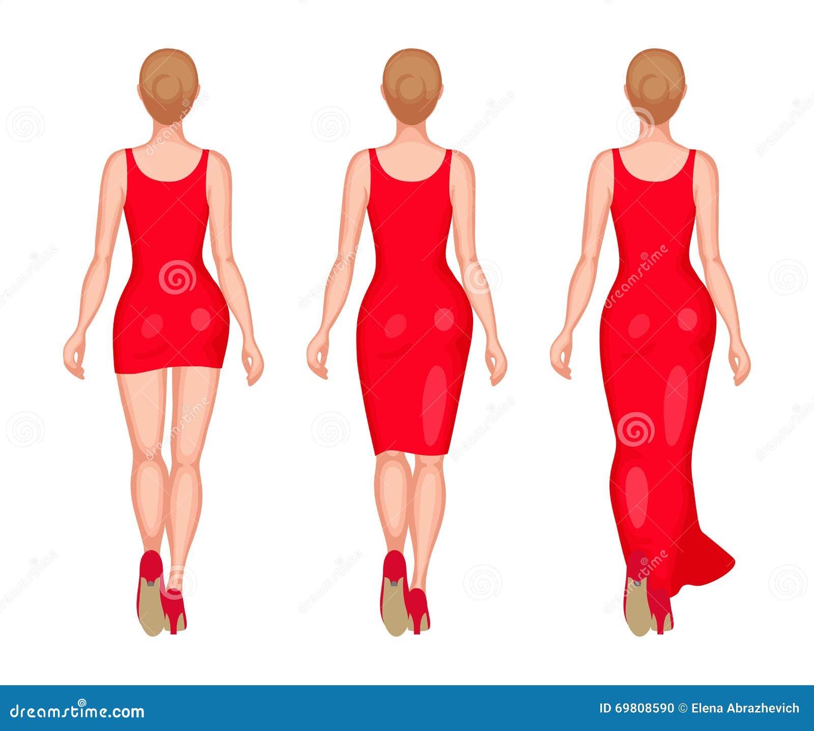 Women dressed in mini, midi and maxi
