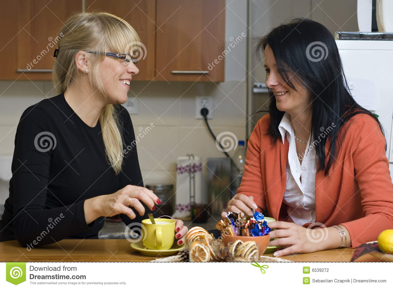 Women drinking coffee at home