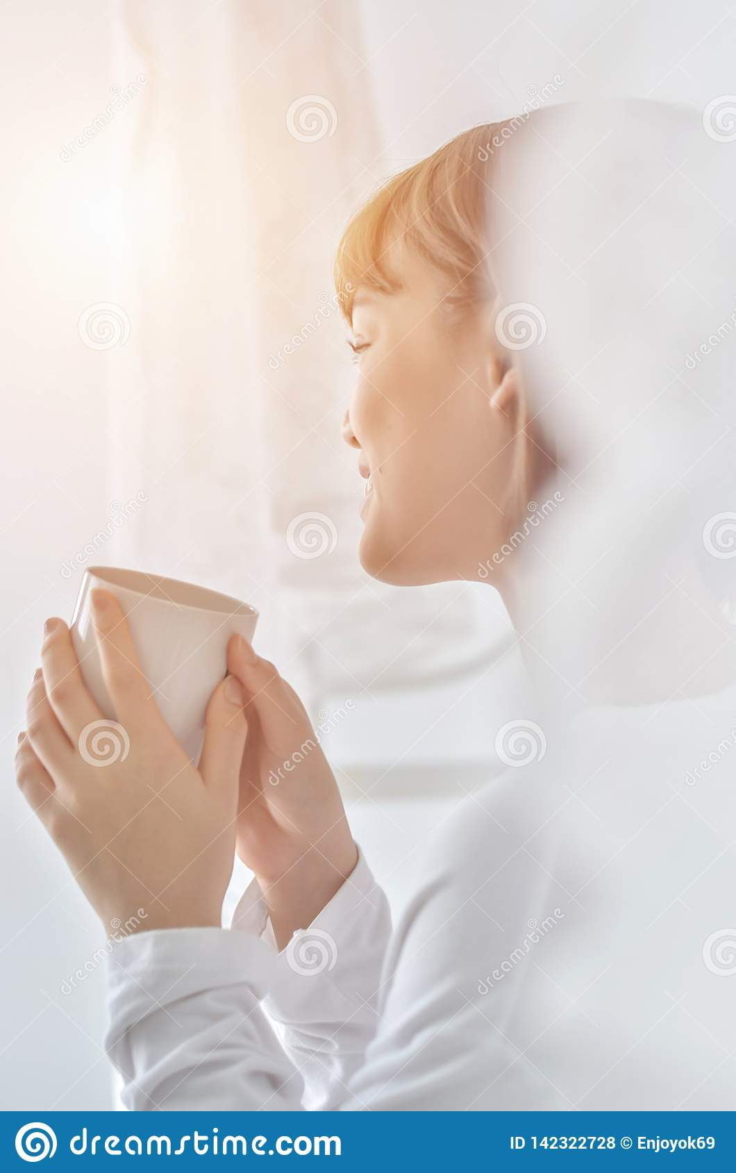 Women are drinking coffee in the morning.