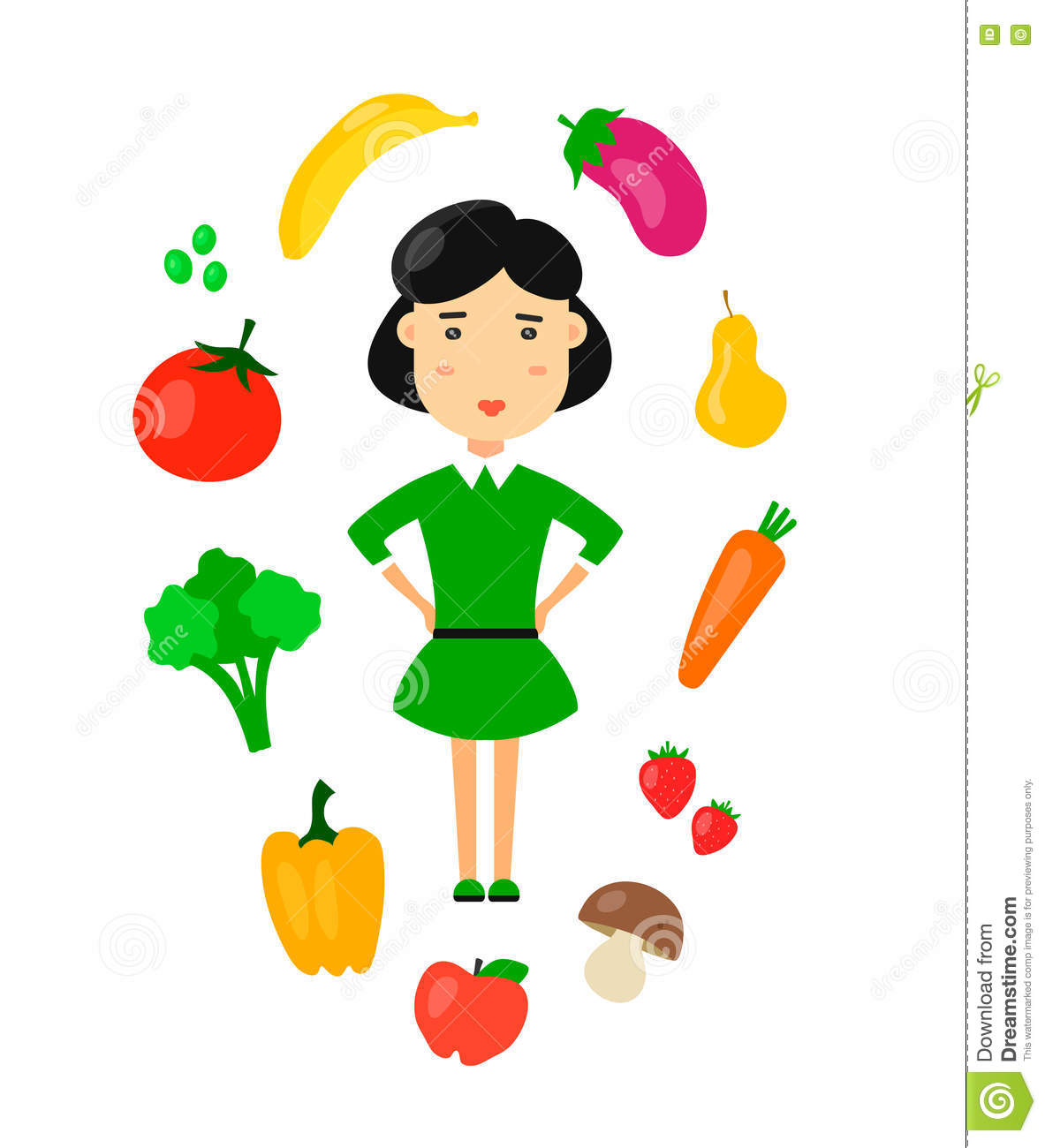 Women Eat Nature Organic Vegetarian Healthy Food Concept Flat