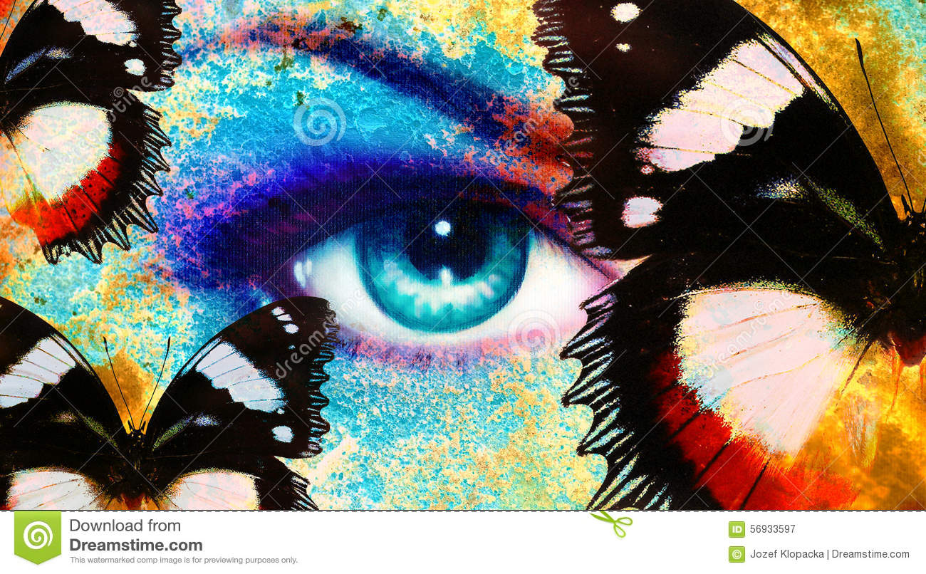Women Eye And Butterfly Color Rust Effect Painting Collage Violet