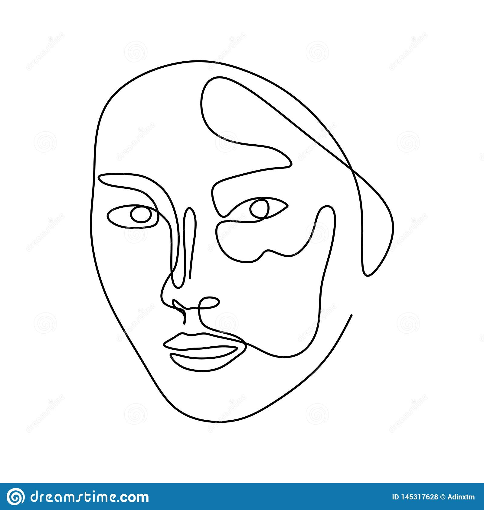 Women Face Abstract Continuous Line Art Drawing Stock Vector