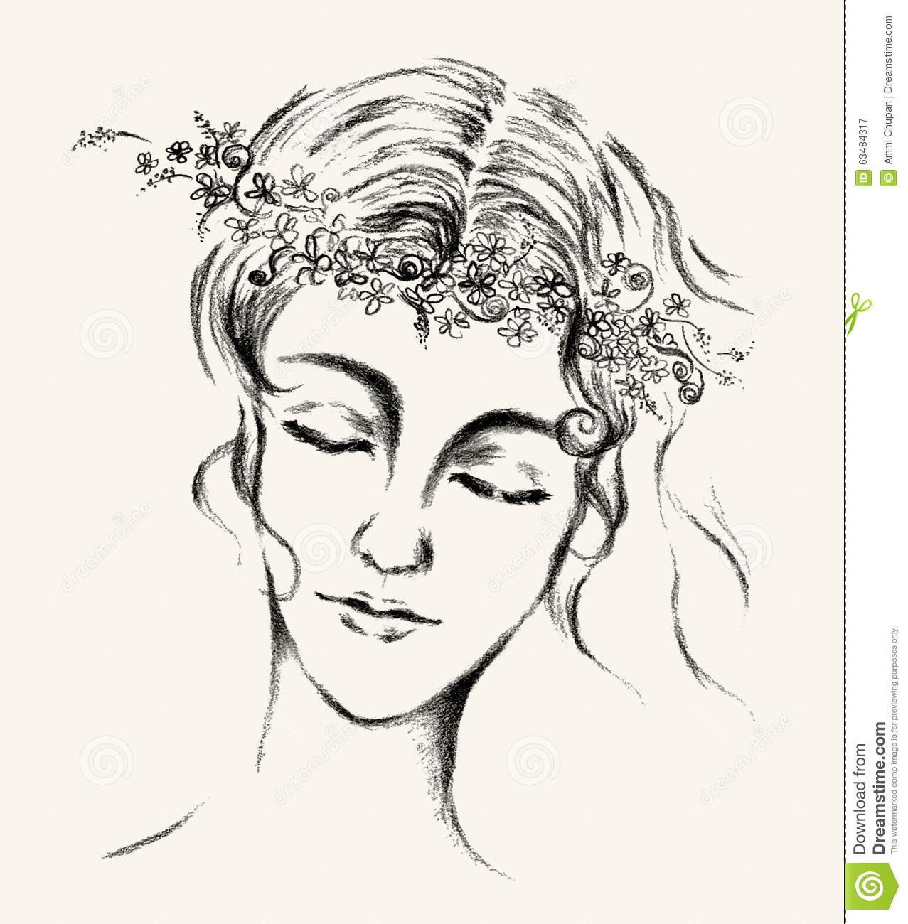 Flower Head Line Drawing : Women face with flower crown illustration hand drawn line