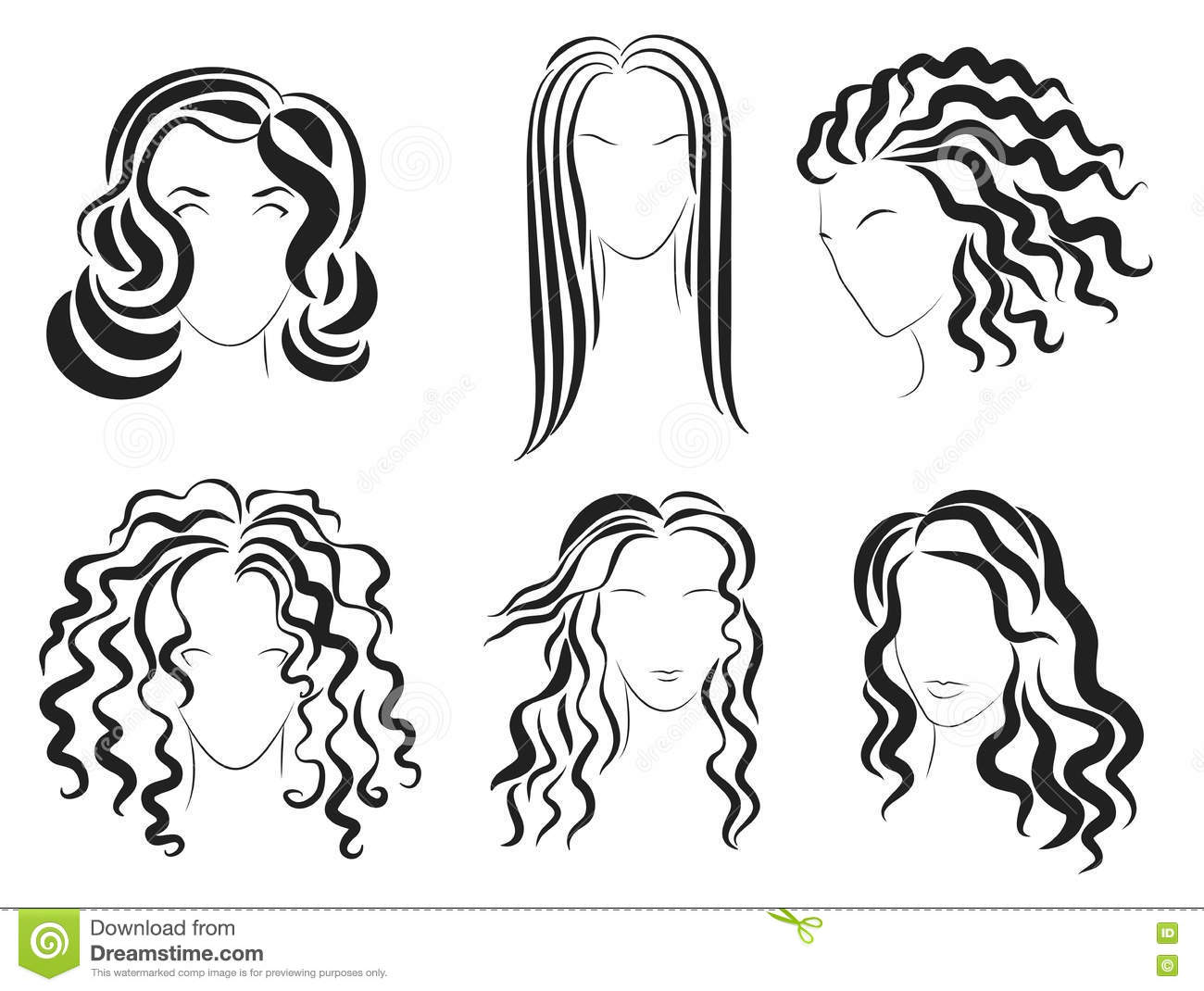 Hairstyle Vector: Women Face Hair Style Silhouette Logo. Vector Illustration