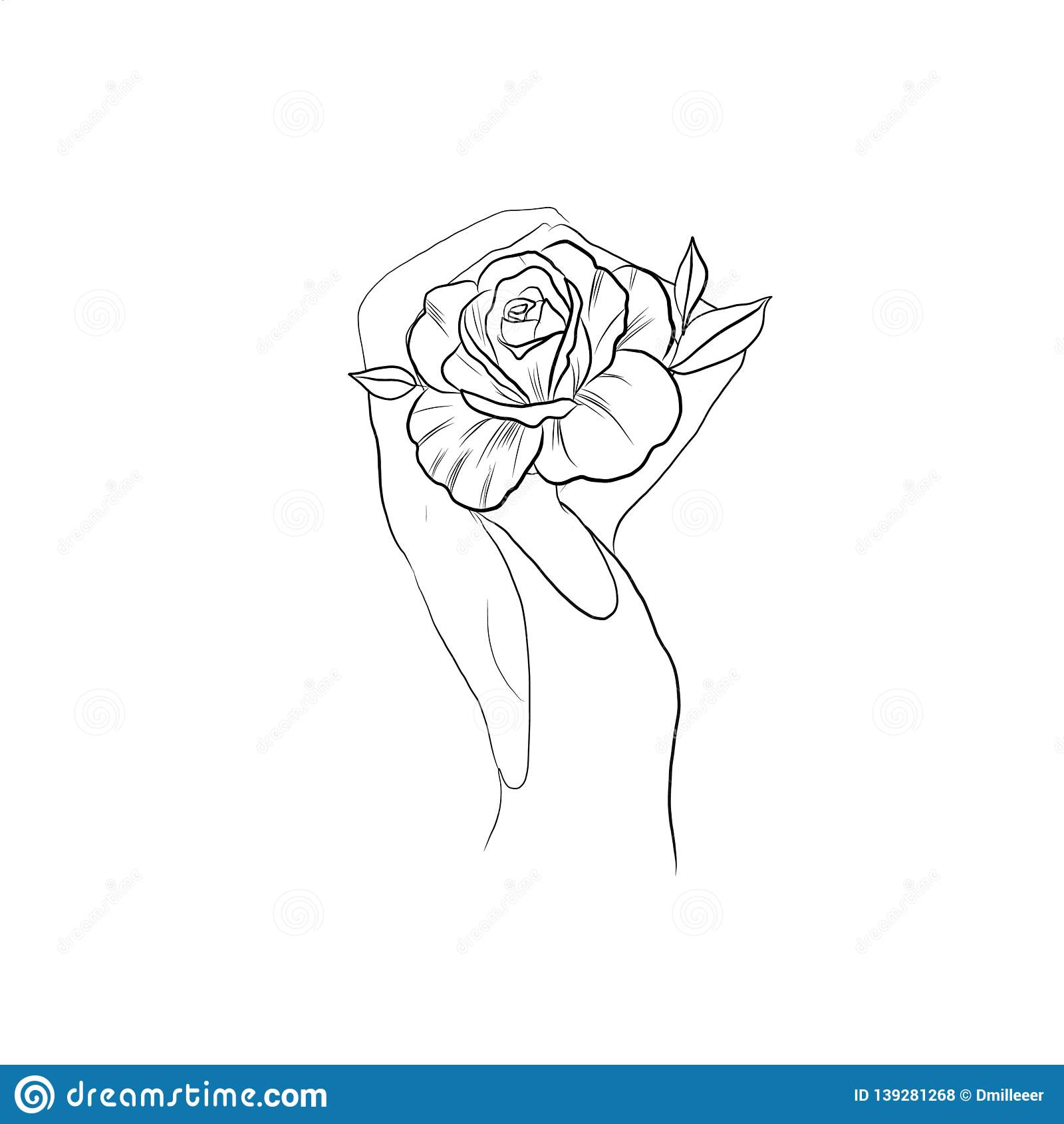 Female Body With A Flower Instead Of A Head Abstract