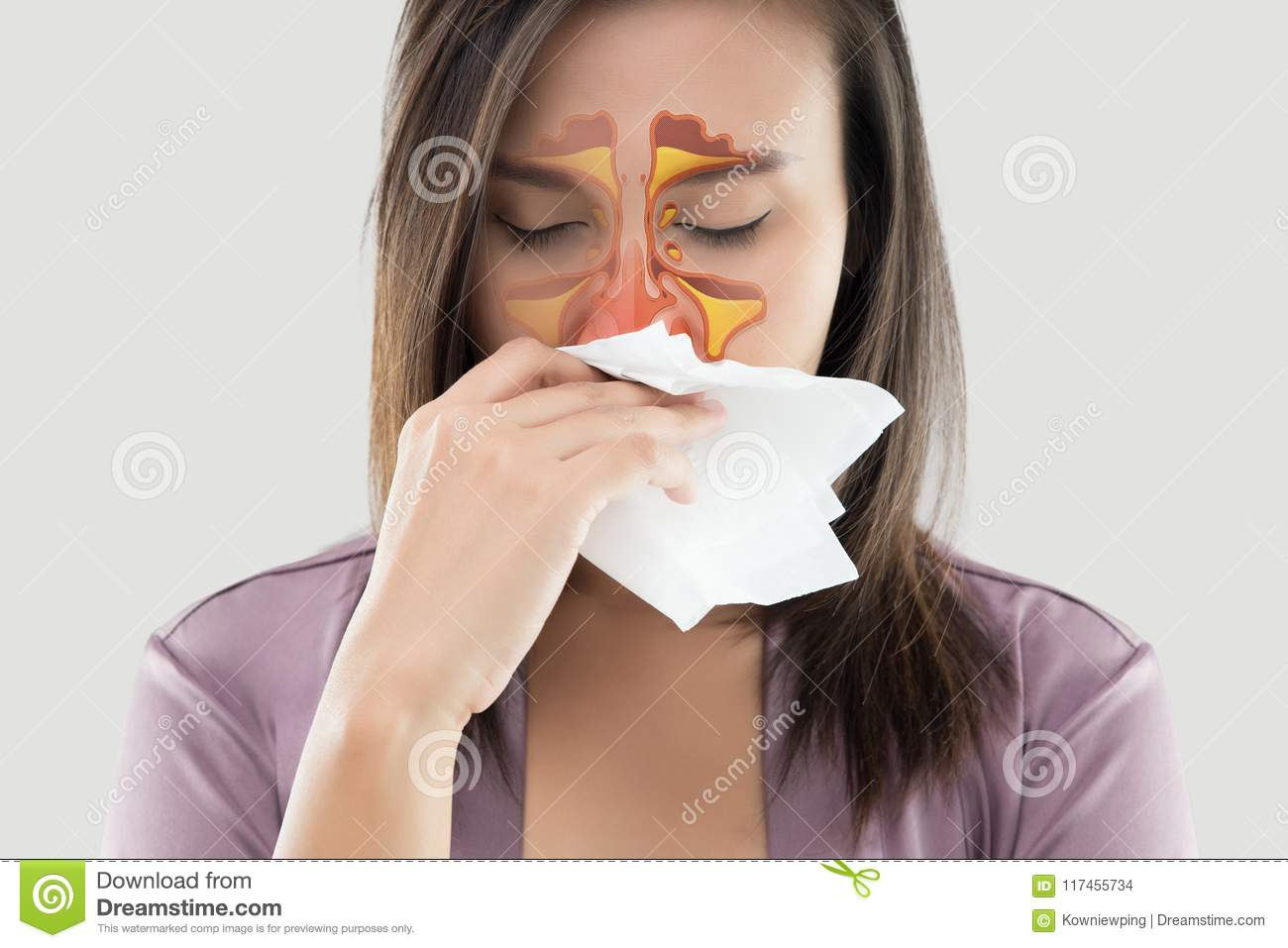 Women feeling unwell and sinus on gray background