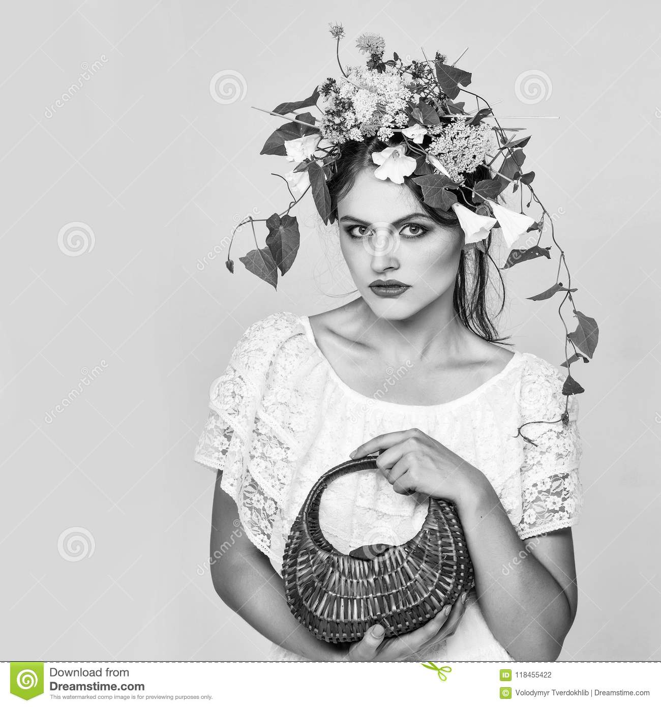 Women With Flowers In Her Hair Young Pretty Girl With
