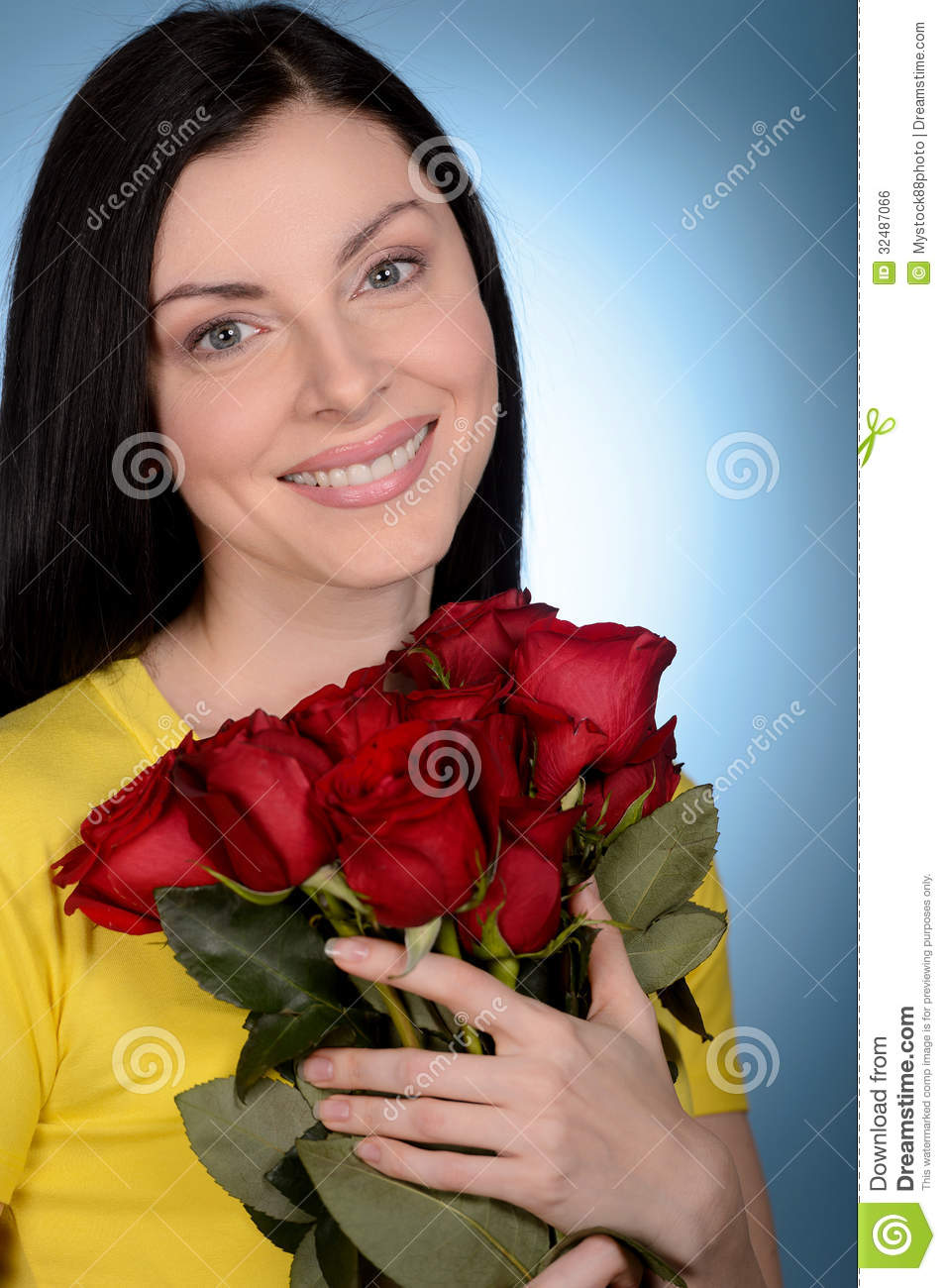 Women with flowers portrait of beautiful middle aged women hold beautiful dhlflorist Gallery