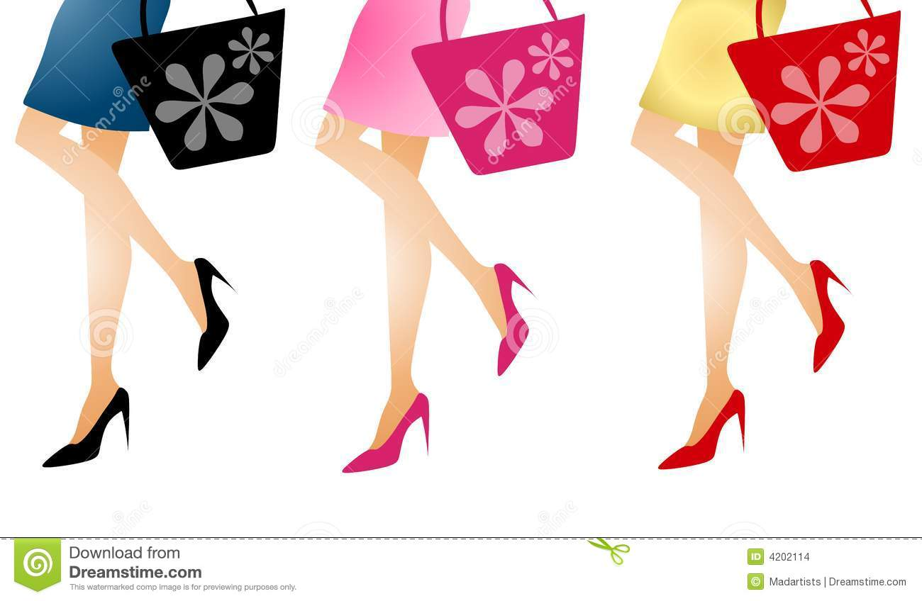 Woman Shopping Clipart Women Going Shopping Long Legs