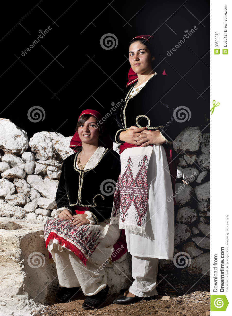 Women With Greek Traditional Wear Stock Photo