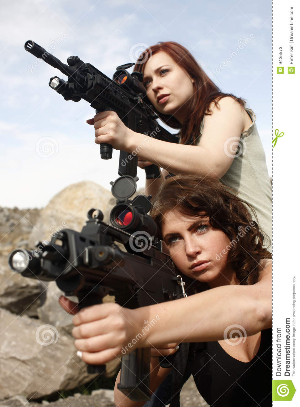 Women With Guns Stock Image Image Of Young Portrait 9435573