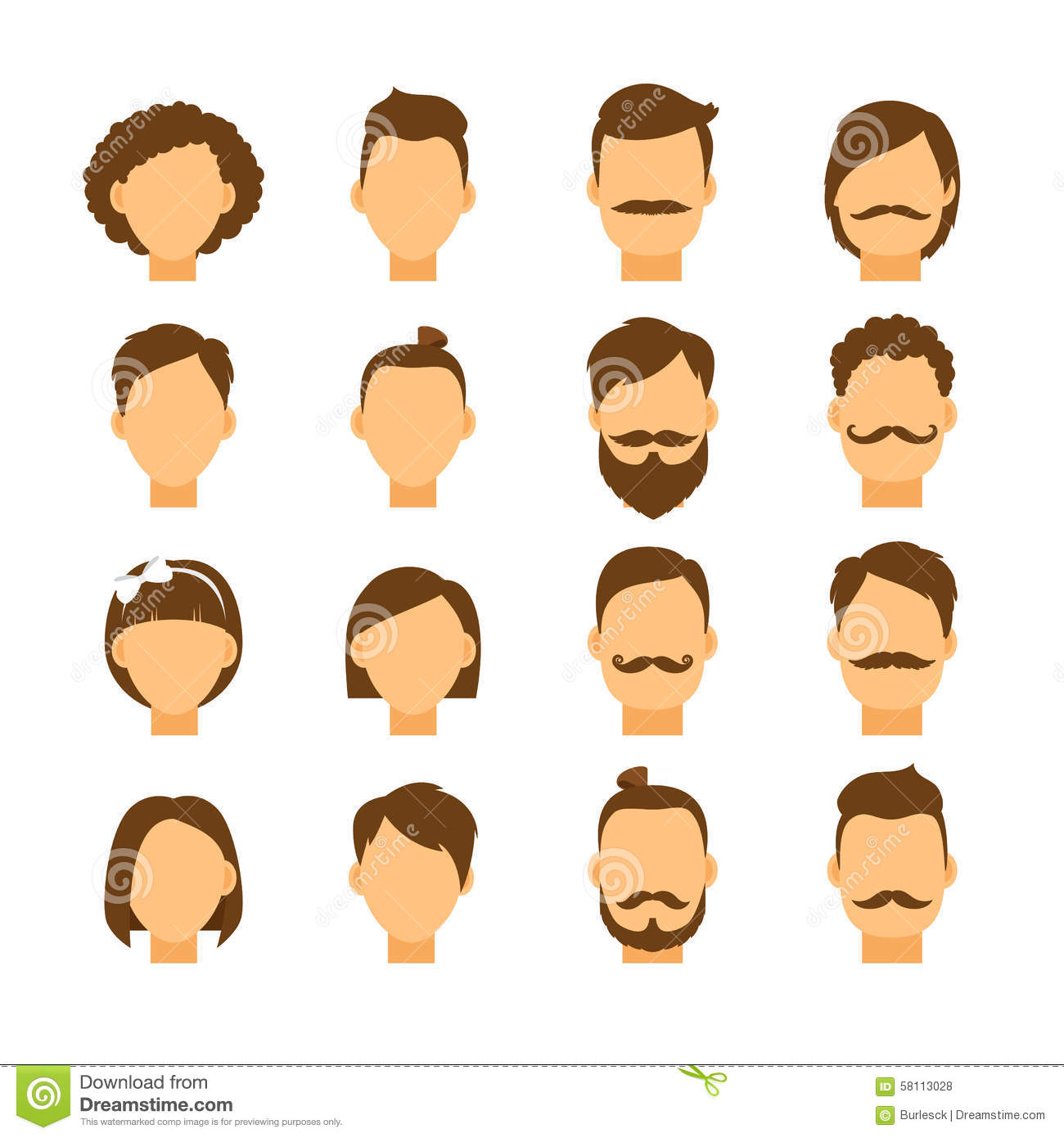 Women Hairstyle And Men Hair Style Hipster Stock Vector