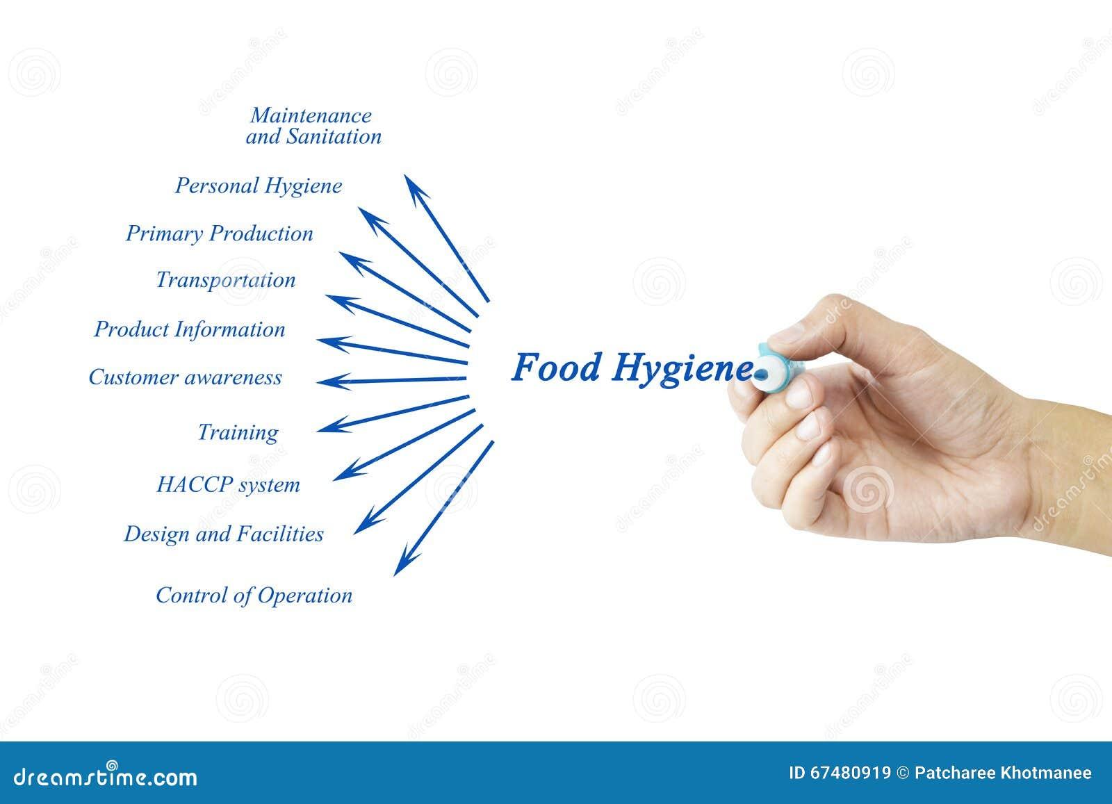 Women hand writing element of food hygiene principle for Hygiene cuisine