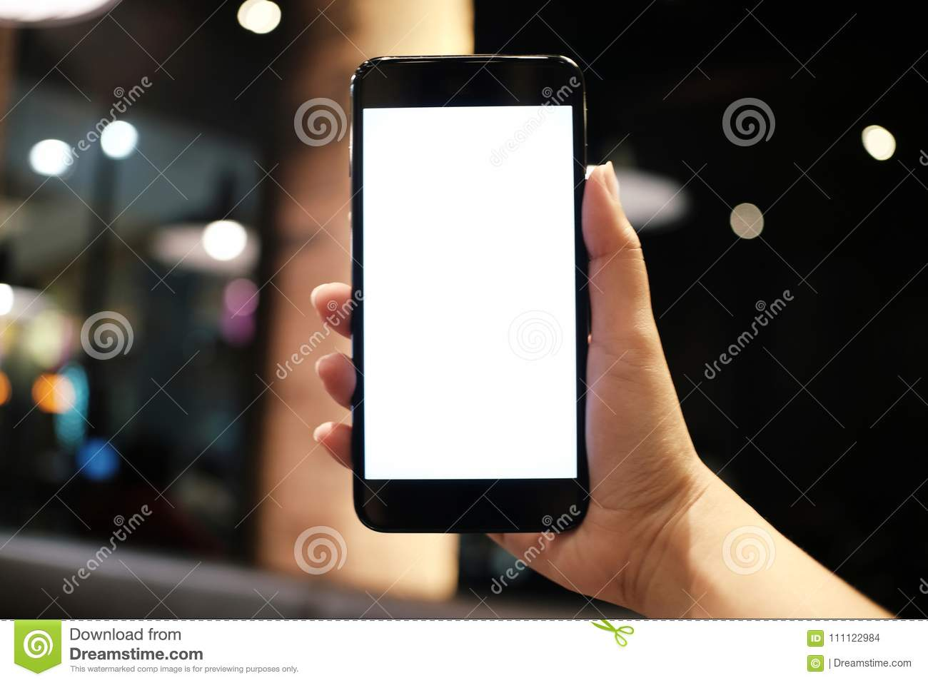 Women hands holding cell telephone blank copy space screen. smart phone with technology concept