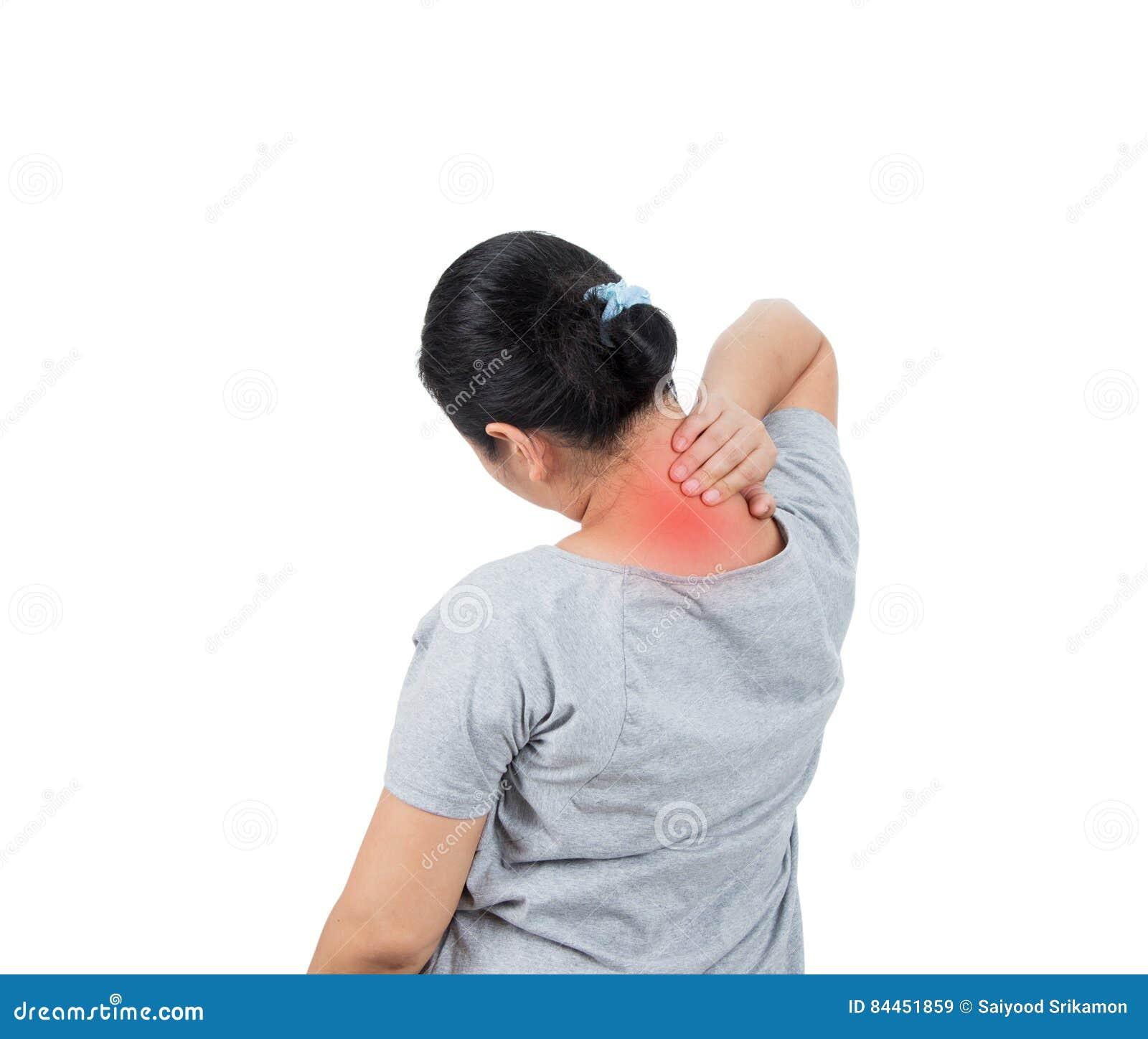 women has neck pain.