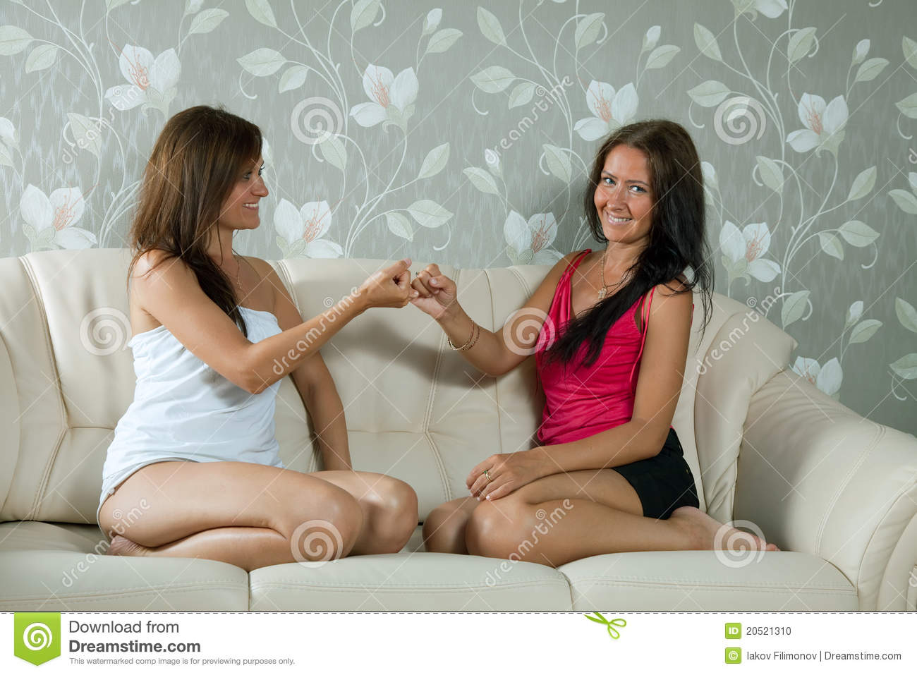 Women having reconciliation in home